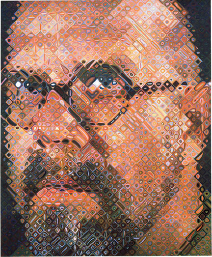 Chuck Close gridwork of the human face