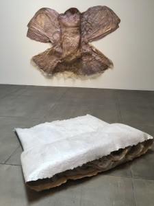 Heidi Bucher, Untitled (Bodyshells), 1974 (partial view; 1 of 2, on floor) and Dragonfly, c.1976.