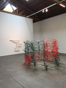 Liz Larner, Reticule, 1999.  Cast polyurethane.  Anna Maria Maiolino, Sao 8, 1993.  Molded cement.  North Gallery.