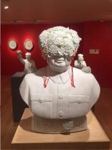 Keiki Fukazawa, Commander M, 2014.  Porcelain, glaze, thread.