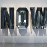 Doug Aitken, NOW (Blue Mirror), 2014, wood, mirror, glass, 48 1/4 x 108 1/2 x 18 in.  photo by Brian Forrest.